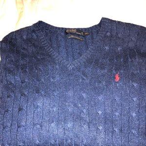 Silk V Neck Polo Sweater